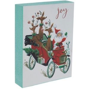 Joy Santa In Car With Reindeer Wood Decor NWT